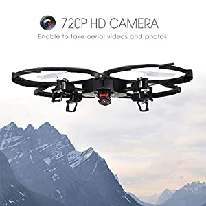 Holy Stone U818A Drone with 720P HD Camera 2.4 GHz 6-Axis gyro RC Quadcopter for Kids with Headless Mode, One Key Return and Low Voltage Alarm, Easy & Safe to Fly, Includes Bonus Battery from Holy Stone