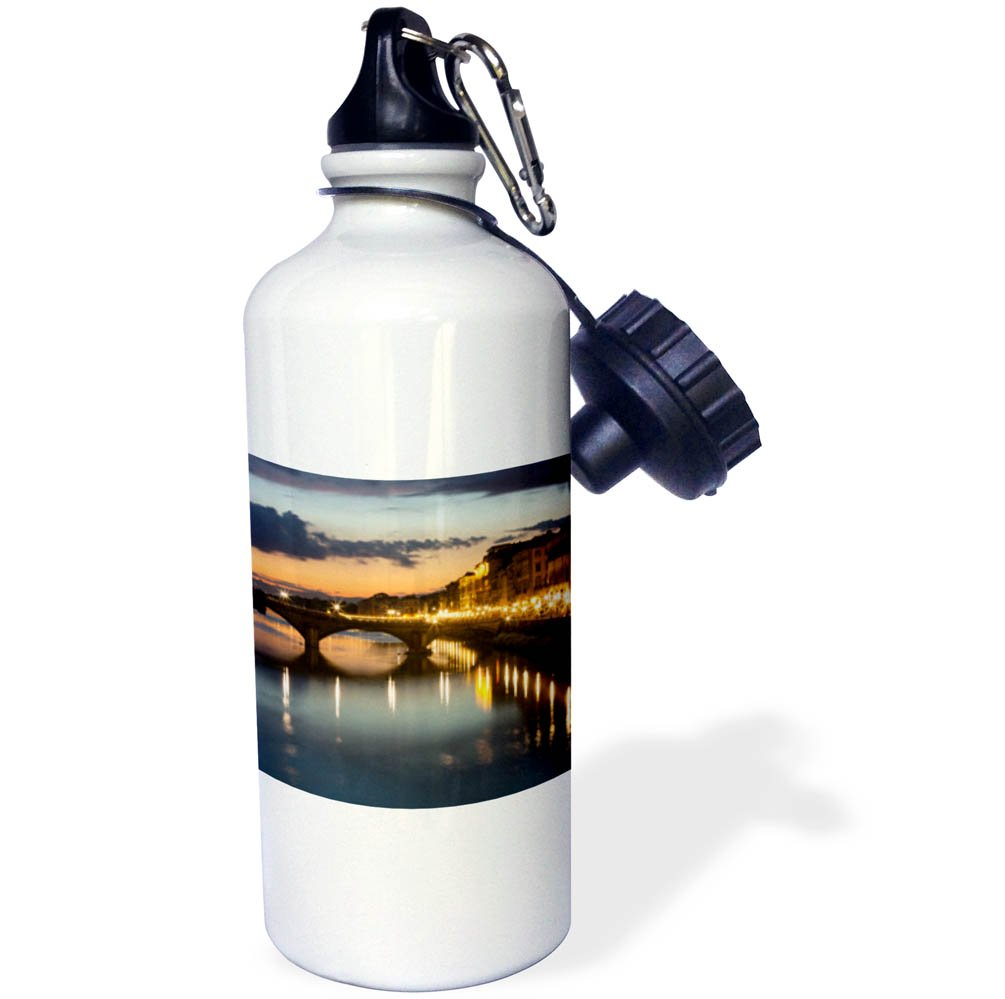 3dRose Danita Delimont - Italy - Italy, Florence. City streetlights illuminate the riverfront streets. - 21 oz Sports Water Bottle (wb_277576_1) by 3dRose