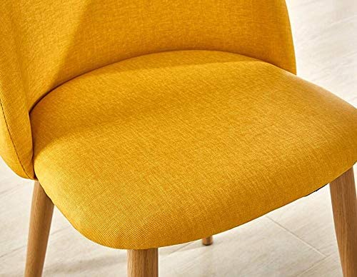 XUEYAN Dossier Simple dinant la Chaise, Tissu de Tissu + Chaise en Bois Pure Jambes Chaise Jaune créatrice (Taille: 44 * 47 * 77cm