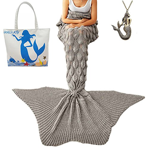 [URSKY Crochet Knitted Sofa Living Room Mermaid Tail Blanket, Cozy and Soft All Season Mermaid Tail Pattern Throw Sleeping Bag For Adult, Teens and Child (Scale Fancy Tail] (Fun Cheap Easy Halloween Costumes)