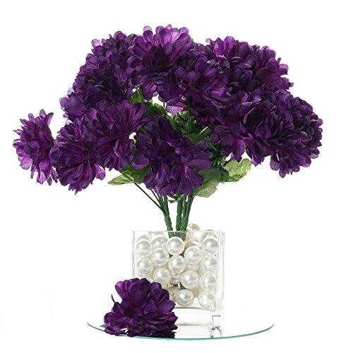 BalsaCircle 84 Purple Silk Chrysanthemums - 12 Bushes - Artificial Flowers Wedding Party Centerpieces Arrangements Bouquets Supplies -