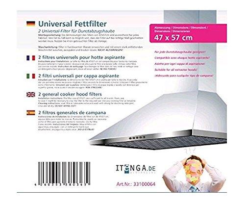 2x itenga Universal Dunstfilter / Fettfilter für jede Dunstabzugshaube geeignet- zuschneidbar 47x57cm - Flachfilter - 2er Set