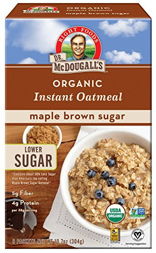 Dr. McDougall's Right Foods Organic Instant Oatmeal, Maple Brown Sugar, Box of 8 Single-Serve Packets (Pack of 7) Vegan, USDA Organic, Non-GMO, Whole Grain, Lower Sugar (The Nutritional Information On A Cereal Box)