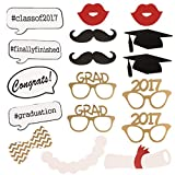 Graduation Party Photo Booth Props 2017 Perfect Graduation Decorations Mask Mustache for Graduation Party Supplies Attached to the Stick, 17 Pcs By Rubikliss