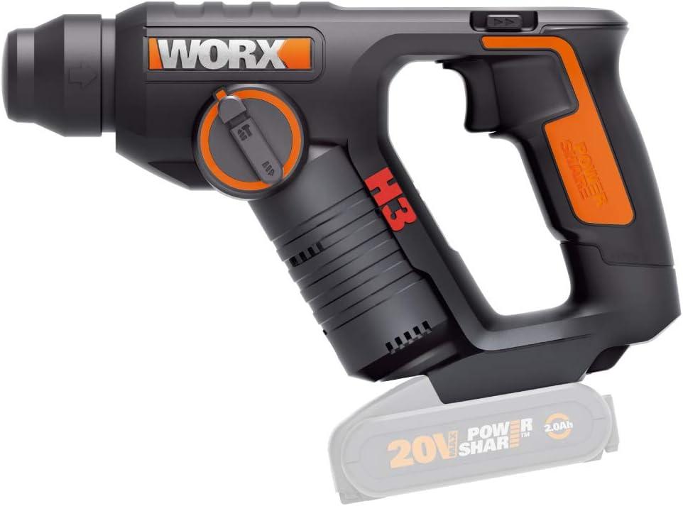 20 V WORX WX394.91 Akku Bohrhammer 20V Max pneumatisch SDS-Plus ohne Akku /& Ladeger/ät