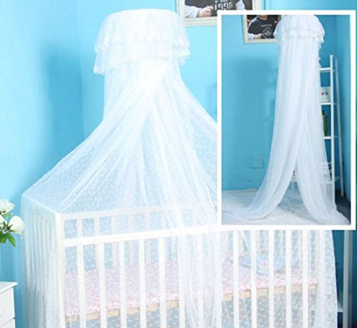 CdyBox Baby Hanging Bed Canopy Round Lace Mosquito Netting Dome Net Insect Repellent (White)