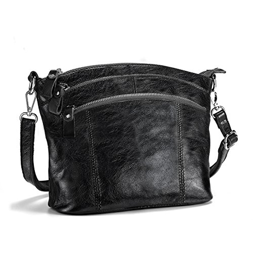 Lecxci Genuine Leather Cross Body Purses Zipper Wallets Shoulder Bags for Women (Wax leather,Black)