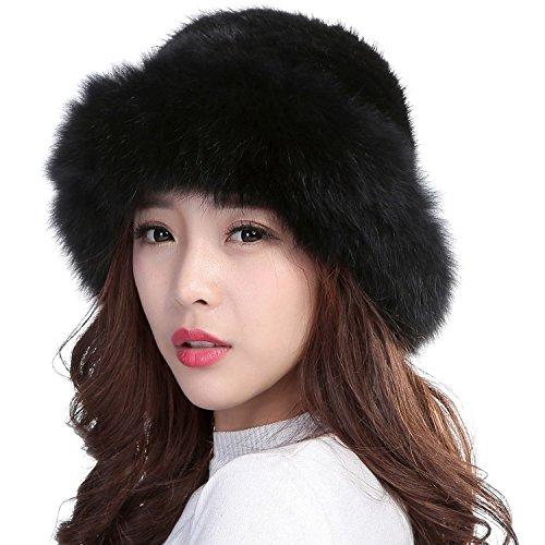 Fox Fur Trim Hat (Valpeak Womens Winter Hat Knitted Mink With Fox Brim Real Fur Hats (Black))