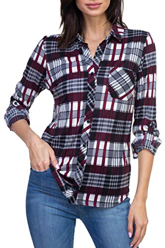 Urban Look Womens Long Sleeve Plaid Button Down Flannel Shirt (Medium, Burgundy ()