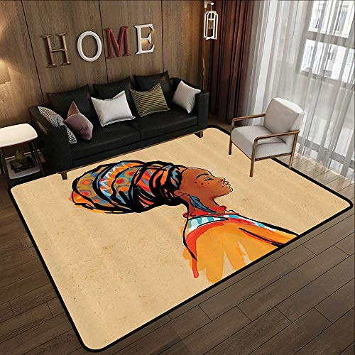 - Indoor Outdoor Rugs,Afro Decor,Ethnic Woman with Exotic Feather Earring and Scarf Zulu Hippie Artwork,Caramel Merigold 35