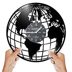 WORLD CLOCK VINYL record - Globe Clock - Vintage Old Map Wall Clock - Flat Earth Wall Clock - World Map Clock - Travelers Gift - Planet Clock Themed Art Decor Clock - Gifts Ideas For Woman Man Black