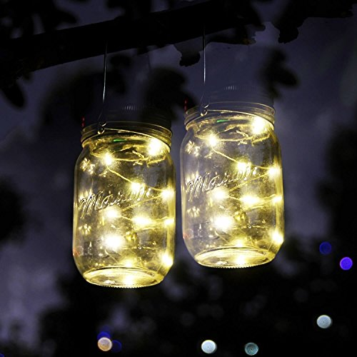 3 Pack Solar Mason Jar LED Lid Insert, Mason Jar Solar 10 LED String Light, Fairy Lights Lids Insert for Wedding Christmas Holiday Party Mason Jar Decor, Patio Garden Path - Porch Christmas Country