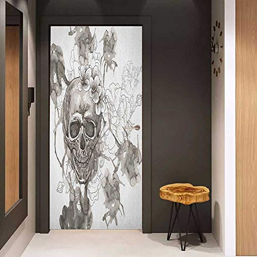 Onefzc Pantry Sticker for Door Day of The Dead Painting Skull Flowers Dia de Los Muertos Festive Designed Print Sticker Removable Door Decal W23 x H70 Dimgrey and -