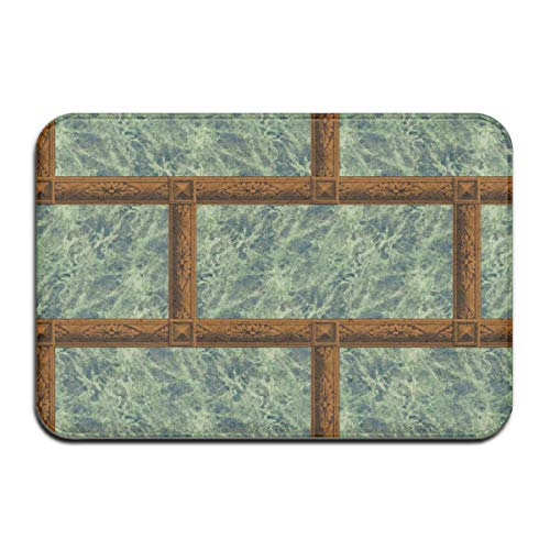 Neoclassical Frame Bricks Emerald Quartz Marble and Rosewood Doormat Floor Mat with Non-Slip Backing Bath Mat Rug Funny Home Decor Rug Carpets 23.6 x 15.7 Inches