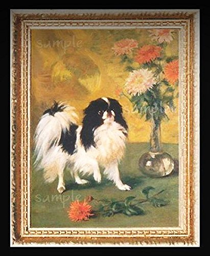 Japanese Chin Dog Dogs Miniature Dollhouse Picture - My Mini Garden Dollhouse Accessories for Outdoor or House Decor