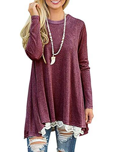 Womens Fall Winter Casual Dress Long Sleeve Lace Tunic Shirts Top Dress (M, Red)