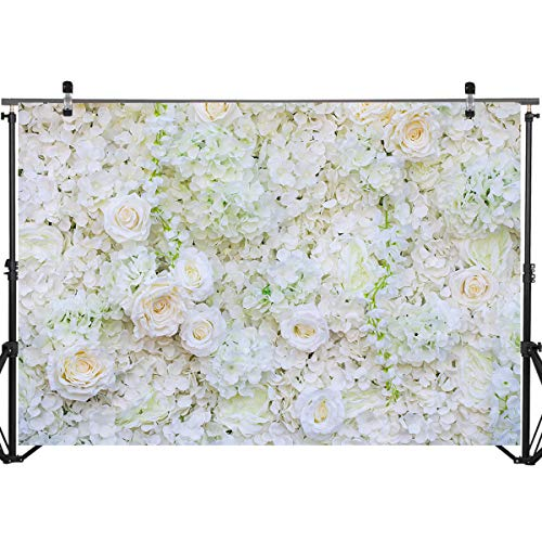 Mocsicka White Rose Backdrop 7x5ft Vinyl Baby Shower Bridal Shower Wedding Decoration Rose Floral Photo Backdrops White Flower Photography Background