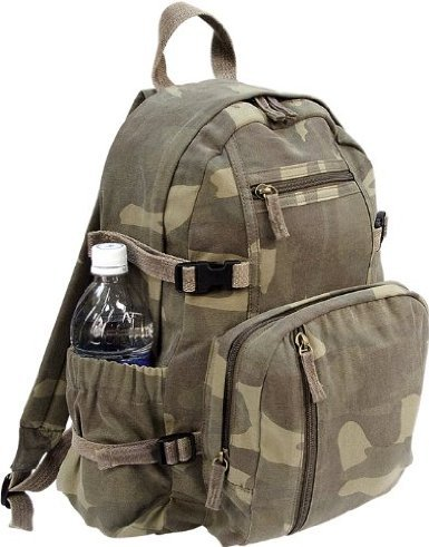 Woodland Camouflage Military Vintage Washed Compact Mini Backpack, Outdoor Stuffs