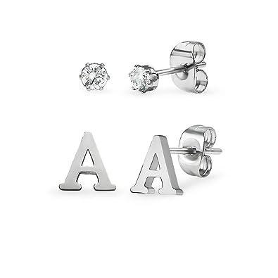 Amazon.com: Pendientes pequeños de acero inoxidable con ...