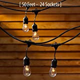 Outdoor Commercial String Globe Lights with Hanging Drop Sockets – 50ft – 24 Sockets and bulbs Outdoor or Indoor...