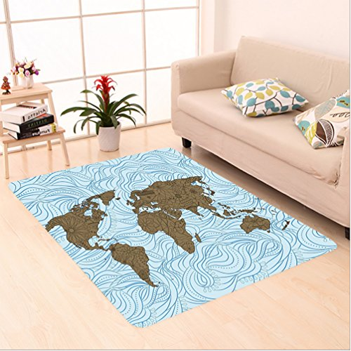 Rug Flower Cocoa (Nalahome Custom carpet World Map with Wavy Ocean Lines and Flower Themed Continent Icons Artful Image Cocoa Light Blue area rugs for Living Dining Room Bedroom Hallway Office Carpet (5' X 7'))