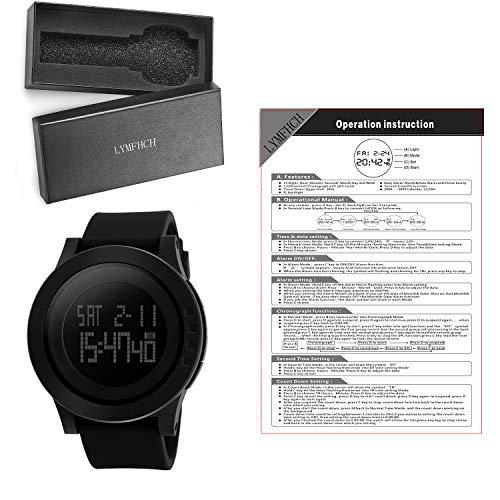 90ac943b3 Men's Digital Sports Wrist Watch LED Screen Large Face Electronics Military  Watches Waterproof Alarm Stopwatch Back