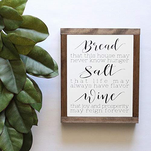 DoreenAbe Personalized Framed Wood Sign, Wood Sign, Housewarming Gift, Bread Salt and Wine, It's A Wonderful Life Quote,Framed Wall Art, Rustic Wood Signs, Hand Painted Wood Sign