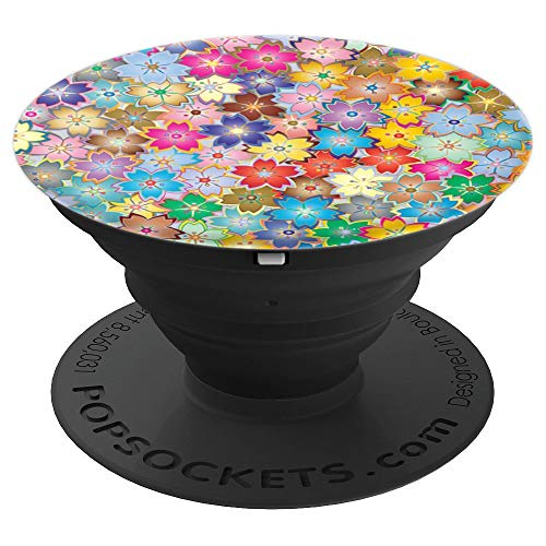 Multi-colored repeated floral design PopSockets Grip and Stand for Phones and Tablets
