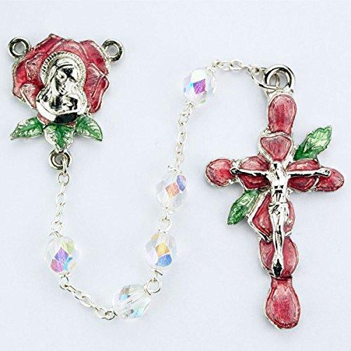 Rose Petal 7mm Aurora Borealis Crystal Bead Rosary. Red Rose Petal Crucifix and Center. Deluxe Gift Boxed (Aurora Borealis Crystal Rosary Beads)