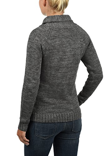 Desires De Philis Grey Grueso 2890 Punto Para Con Suéter Dark 100 Mujer Cuello Esmoquin Algodón Jersey Sudadera rAUEwA