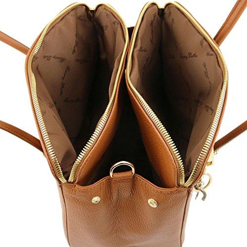 Tuscany Leather - TL KEYLUCK - Bolso a mano en piel suave - TL141285 (Rojo) Blue oscuro