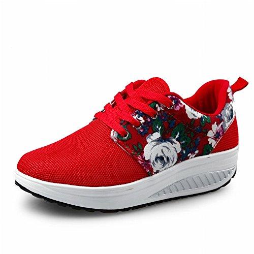 Sacuda el Zapato Zapatos de Los Deportes Casuales Del Pino de la Cuesta de la Sacudida , rojo , EUR38