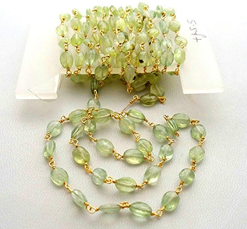 Rosary Chain Prehnite Faceted Oval Shaped Beads,925 Sterling Silver, 24 k Gold Plated,Rosary Style, Wire Wrapped Chain,Chain per Foot Size - 5x7 mm [E1734]