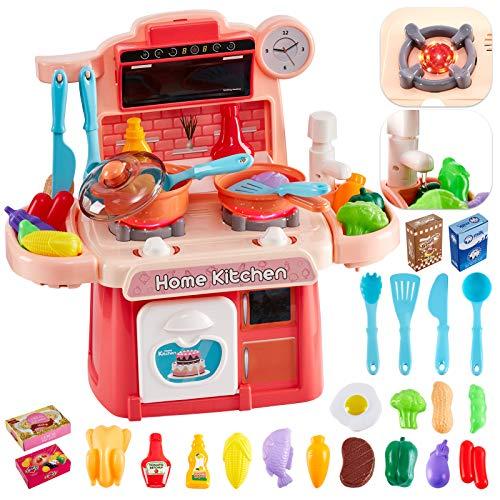 HERSITY 26 Piezas Cocinitas de Juguetes Alimentos Cocina Juguete con Luz y Sonido Plastico Regalos para Niños Niñas 3 4 5 6 Años