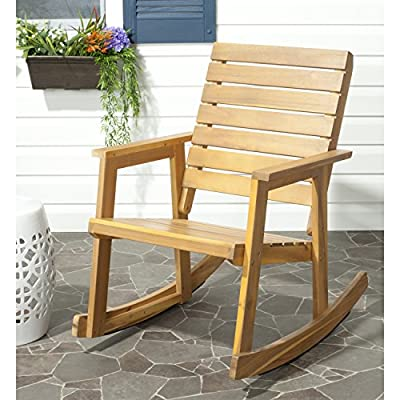 Safavieh Outdoor Collection Alexei Natural Brown Rocking Chair - Collection:Fox Color:TEAK Construction:GALVANISED STEEL; ACACIA WOOD - patio-furniture, patio-chairs, patio - 51g8zvwmvDL. SS400  -