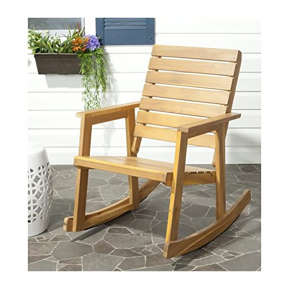 Safavieh Outdoor Collection Alexei Natural Brown Rocking Chair - Collection:Fox Color:TEAK Construction:GALVANISED STEEL; ACACIA WOOD - patio-furniture, patio-chairs, patio - 51g8zvwmvDL. SS570  -
