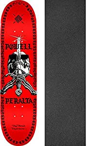 "Powell Peralta Skull & Sword Chainz Red Skateboard Deck - 8"" x 31.45"" with Jessup Griptape - Bundle of 2 items"