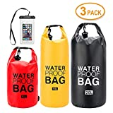 iValley 5L/10L/20L Waterproof Dry Bag with Shoulder Stripe, Roll Top Sack Keeps Gear Dry for Kayaking, Beach, Rafting, Boating, Hiking, Camping and Fishing with Waterproof Phone Case(Set of 3)