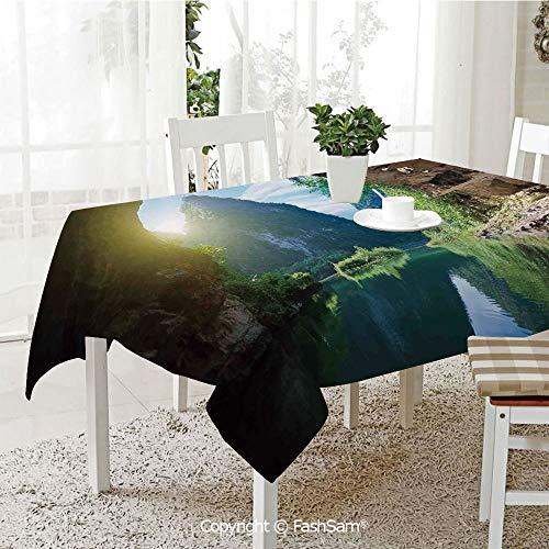 AmaUncle Premium Waterproof Table Cover Mountain and Sky View from The Grotto Viatnemese Tam COC Park Myst Nature Photo Table Protectors for Family Dinners (W55 xL72) -