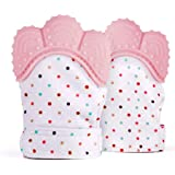 BabyGoods Teething Mitten to Soothe Sore Gums and Promote Teeth Growth | Teether Toy for Boys and Girls - Set of 2 (Pink…