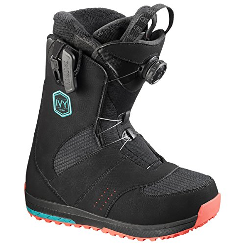 Snowboard Boot Ivy (Salomon Snowboards Ivy Boa Snowboard Boot - Women's Black/Teal Blue, 7.0)