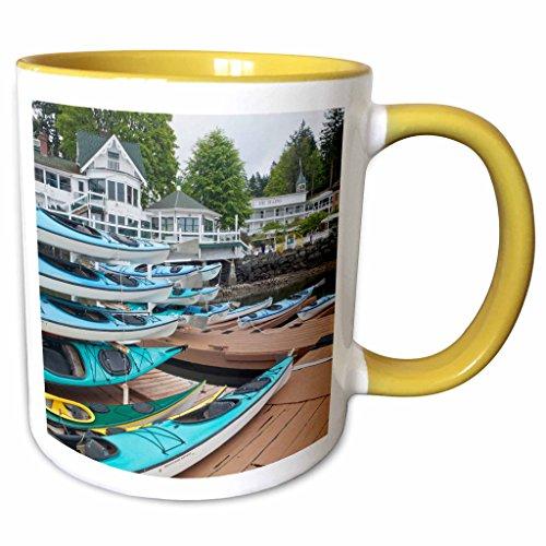 3dRose 190795_8 Washington, San Juan Islands Kayaks and buildings in Roche Harbor, Yellow Mug 11 oz