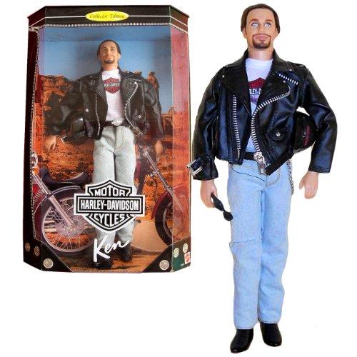 Mattel Year 1998 Barbie Harley-Davidson Motorcycle Series 12 Inch Doll Set - Brunette Ken (22255) with Faux Leather Jacket, Helmet, Belt with Harley Buckle, Wallet with Fob, Sunglasses and Doll - Sunglasses Brunette With