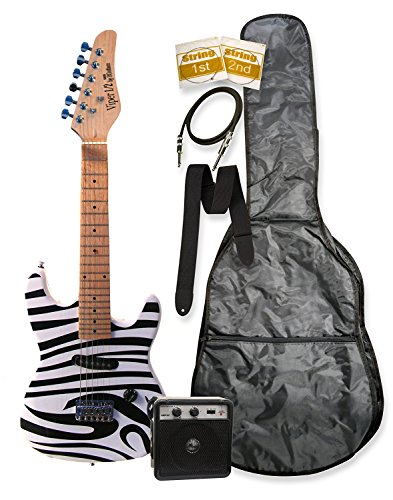 32″ Junior Kids Mini 1/2 Half Size Electric Starter Guitar and Amplifier with Learn to Play Guitar DVD Zebra, Bag, Strap, Extra Strings, DirectlyCheap(TM) Medium Guitar Pick
