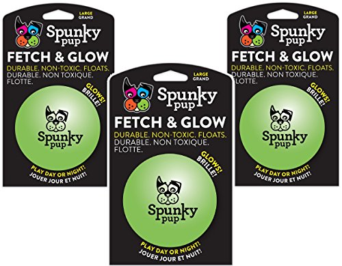 Spunky Pup (3 Pack) Fetch and Glow Ball - Large [Colors Vary]