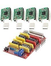 AZDelivery CNC Schild V3 Bundel met 4 stuks A4988 Driver Stappenmotor met Koellichaam compatibel met Arduino Inclusief E-Book!