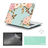 MacBook Air 11 inch Case,iCasso Plastic Pattern Hard Shell & Keyboard Cover & Screen Protector (Models : A1370 and A1465), Green Watercolor Rose
