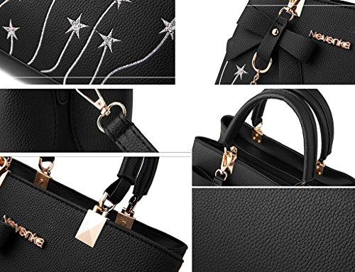 NUCLERL pour femmes à fourre en d'étoile Gris avec Fleur Embroidery confortable PU Bowknot les main Sac cuir éclair charme gris tout Fermeture rwvqrI8Y