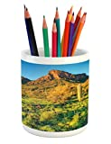Saguaro Pencil Pen Holder by Ambesonne, Picacho Peak at Sunrise Surrounded by Barren Area Hostile Living Contidions Theme, Printed Ceramic Pencil Pen...