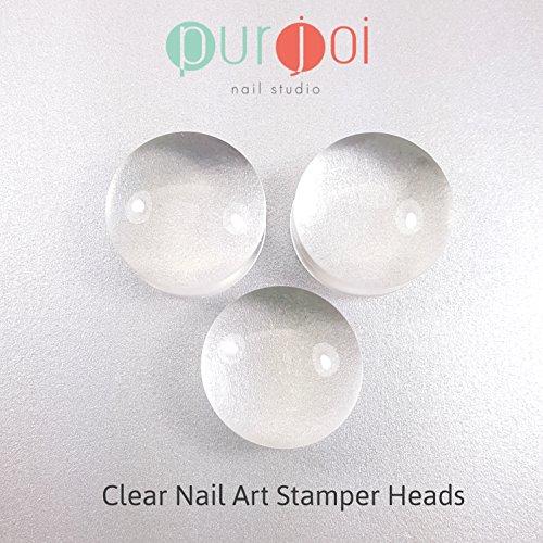 Clear Nail Art Stamper Stamping Soft Squishy Stamping Heads Clear Jelly Stamper Stamping DIY (3 Replacement Pieces - 2.8 cm) -  Purjoi Nail Studio, 3 Set Stamper Heads